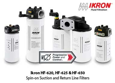 Ikron HF-620, HF-625 and HF-650 inline spin on hydraulic filters for suction lines and return lines