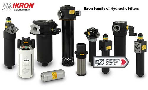photo collage of Ikron filters for hydraulic systems