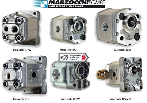 photo collage of Marzocchi 1P series aluminum gear pumps