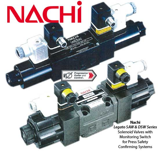 Nachi Legato SAW and DSW series solenoid safety valves for press confirming systems compliant with ISO 12100