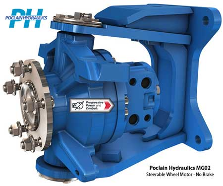 Poclain Hydraulics MG02 and MGE02 steerable wheel motor without brake