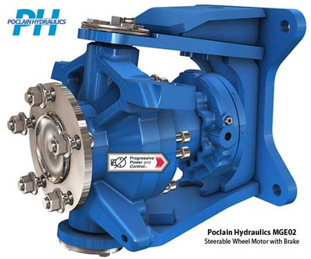 Poclain Hydraulics MG02 and MGE02 steerable wheel motor with brake