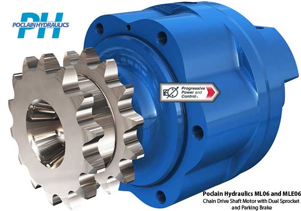 Poclain Hydraulics ML06 and MLE06 chain drive motor with dual sprockets