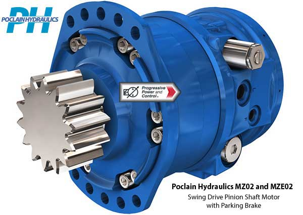 Poclain Hydraulics MX02 and MZE02 swing drive pinion shaft motor