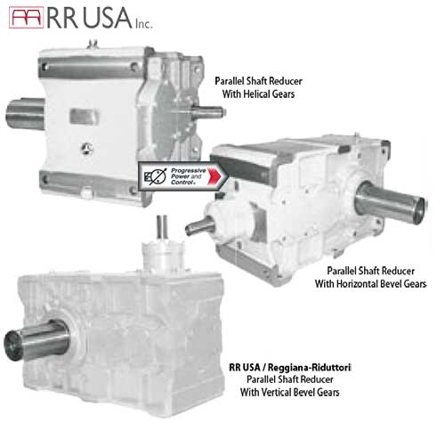 RR USA Reggiana-Riduttori parallel shaft reducers with helical gears, horizontal bevel gears and vertical bevel gears
