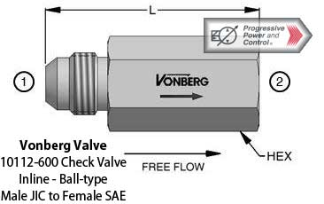 Vonberg 10112-600 check valve male JIC to female SAE