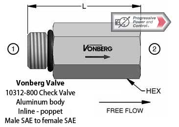 Vonberg 10312-800 Check Valve male SAE to female SAE inline poppet