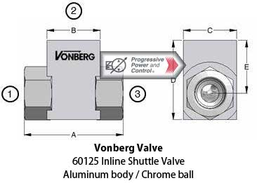 Vonberg 60125 Shuttle Valve aluminum body, inline, chrome ball