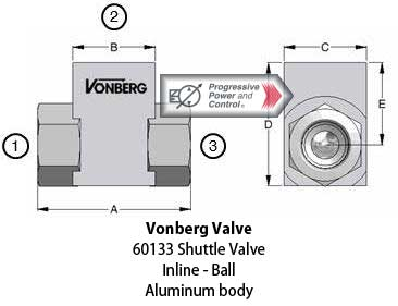 Vonberg 60133 inline ball shuttle valve with aluminum body