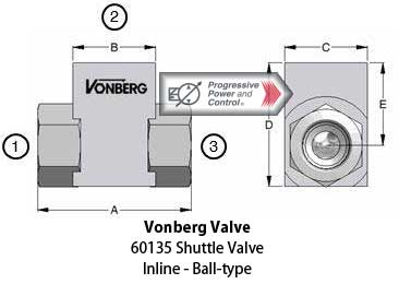 Vonberg 60135 inline, ball-type shuttle valve