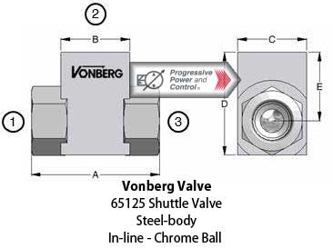 Vonberg 65125 steel-bodied shuttle valve in-line style, chrome ball)