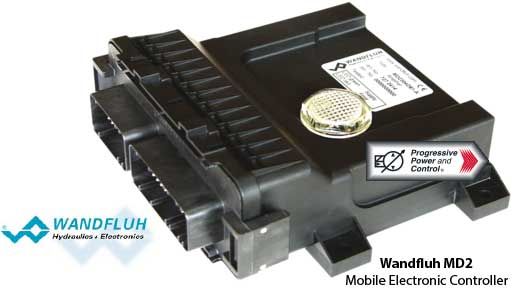Illustration of Wandfluh MD2 CANopen electronic controller for hydraulic mobile machinery