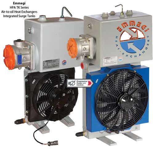 Emmegi HPA TK air-to-oil heat exchanger with surge tank for closed hydraulic circuits