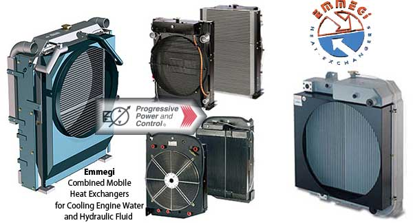 Emmegi combined mobile heat exchangers for engine water and hydraulic fluid