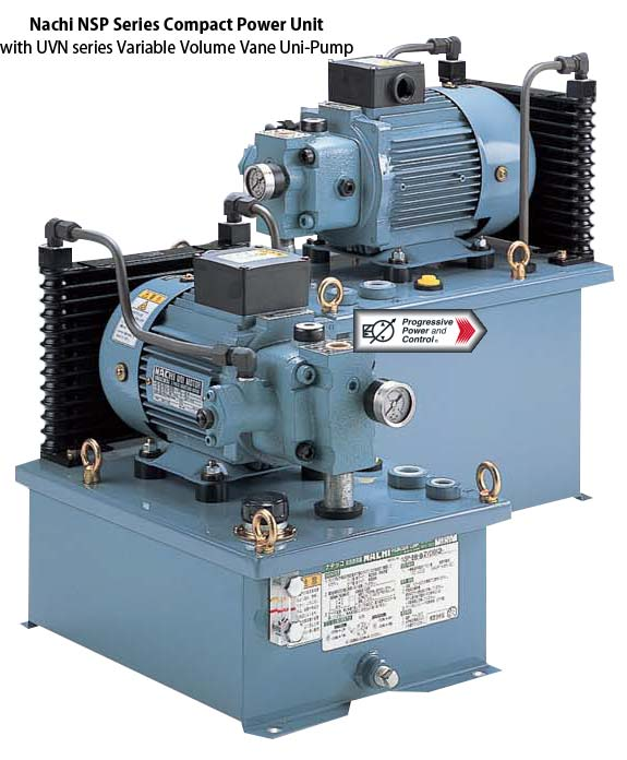 Nachi NSP-10, NSP-20, NSP-30 model compact hydraulic power unit with UVN uni-pump vane pump and on-board cooling system