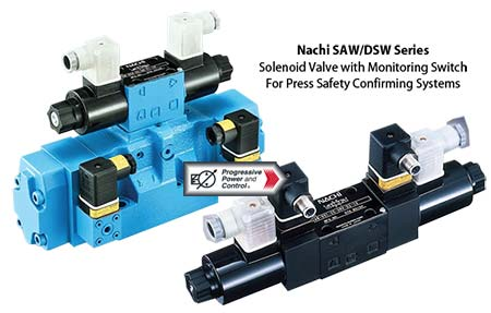 Nachi SAW / DSW solenoid safety valve with safety monitoring switch