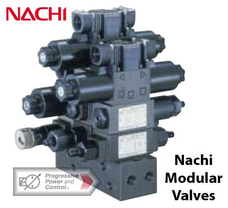 Nachi modular valve pictured in manifold block