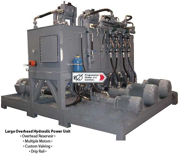 Large overhead hydraulic power unit with multiple motors