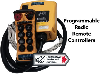 programmable radio remote controllers for hydraulic systems