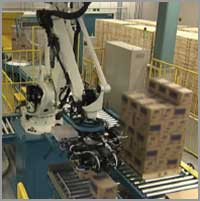 Nachi robot palletizing boxes
