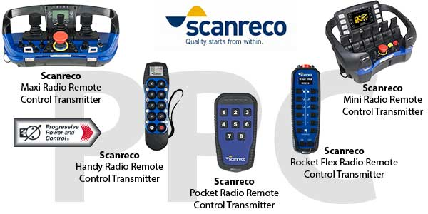 Scanreco radio transmitters for radio remote controls