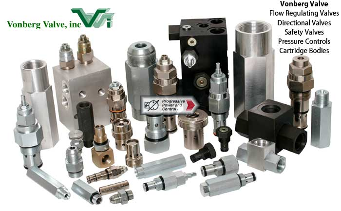 Collage of Vonberg Valve hydraulic valves including flow regulating, directional, flow limiters, pressure valves