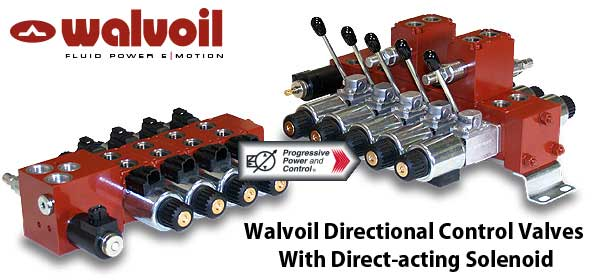 Walvoil directional control valves with direct-acting solenoid