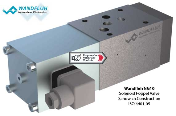 NG10 Solenoid Poppet Valve - ISO 4401-05 Sandwich construction
