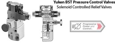 Yuken BST series solenoid controlled relief valve photo and schematic