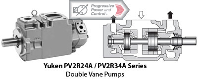 Yuken PV2R24A and PV2R34A series double vane pump photo and schematic
