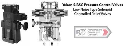 Yuken S-BSG solnoid controlled low noise relief valve photo and schematic
