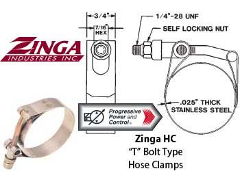 Zinga HC T bolt stainless steel hose clamps