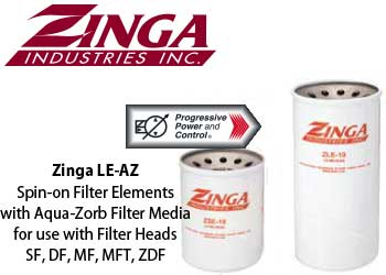 Zinga LE-AZ spin-on filters with Aqua-zorb for water absorption