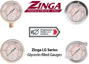 Zinga LG glycerin-filled pressure gauges with 4 different connection types