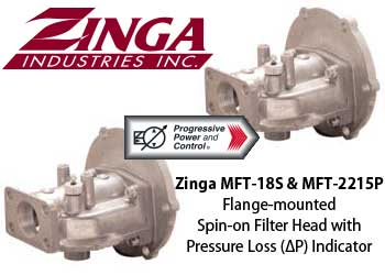 Zinga MFT-18S and MFT-2215P Flange-mounted Spin-on Filter Head with Pressure Loss Indicator