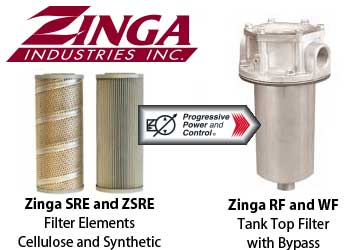 Zinga RF and WF series tank top filters
