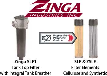 Zinga SLF1 tank top filter with integrated tank breather and SLE/ZSLE filter elements