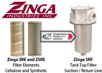 Zinga SRF suction line return line tank top filter