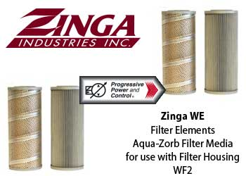 Zinga WE model hydraulic aqua-zorb filter for WF2 filter housing