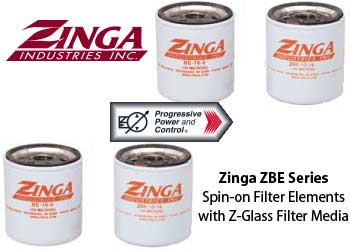 Zinga ZBE spin-on filter elements with Z-glass filter media