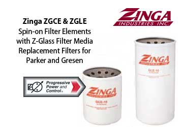 Zinga ZGCE and ZGLE spin-on filter replacements for Parker and Gresen hydraulic filters