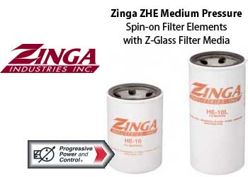 Zinga ZHE z-glass spin-on hydraulic filter elements