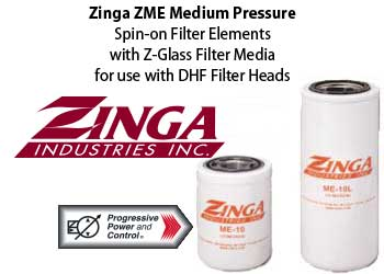 Zinga ZME z-glass filter element - medium pressure